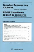Cover of Canadian Business Law Journal / Revue Canadienne du droit de commerce