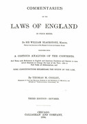 Cover of Commentaries on the Laws of England in Four Books