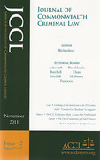Cover of Journal of Commonwealth Criminal Law Print Only