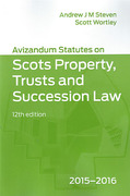 Cover of Avizandum Statutes on the Scots Property, Trusts and Succession Law 2015 - 2016