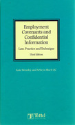 Cover of Employment Covenants and Confidential Information: Law, Practice and Technique