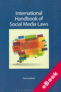 Cover of International Handbook of Social Media Laws (eBook)