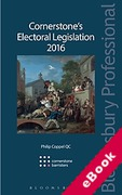 Cover of Cornerstone's Electoral Legislation 2016 (eBook)