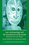 Cover of Law, Anthropology and the Constitution of the Social