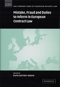 Cover of Mistake, Fraud and Duties to Inform in European Contract Law