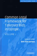 Cover of Common Legal Framework for Takeover Bids in Europe: Volume 1