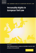 Cover of Personality Rights in European Tort Law
