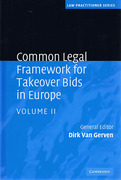 Cover of Common Legal Framework for Takeover Bids in Europe Volume 2