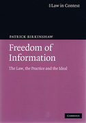 Cover of Law in Context: Freedom of Information: The Law, the Practice and the Ideal