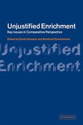 Cover of Unjustified Enrichment: Key Issues in Comparative Perspective