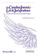 Cover of The Canadian Journal of Law and Jurisprudence - An International Journal of Legal Thought: Print + Online