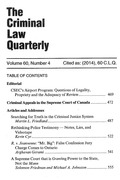 Cover of The Criminal Law Quarterly