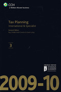 Cover of CCH Tax Planning: International and Specialist 2009-10