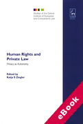Cover of Human Rights and Private Law: Privacy as Autonomy (eBook)