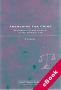Cover of Answering for Crime: Responsibility and Liability in The Criminal Law (eBook)