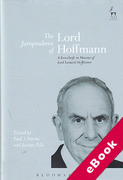 Cover of The Jurisprudence of Lord Hoffmann: A Festschrift in Honour of Lord Leonard Hoffman (eBook)