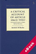 Cover of A Critical Account of Article 106(2) TFEU: Government Failure in Public Service Provision (eBook)