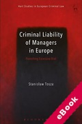 Cover of Criminal Liability of Managers in Europe: Punishing Excessive Risk (eBook)