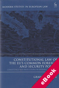 Cover of Constitutional Law of the EU's Common Foreign and Security Policy: Competence and Institutions in External Relations (eBook)