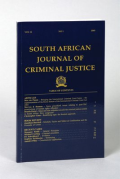 Cover of South African Journal of Criminal Justice: Print Only