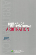 Cover of Journal of International Arbitration: Print Only