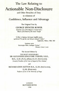 Cover of Spencer Bower, Turner & Sutton: The Law Relating to Actionable Non-Disclosure