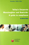 Cover of Tolley's Corporate Manslaughter: A Guide to Compliance