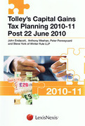 Cover of Tolley's Capital Gains Tax Planning 2010 - 2011, Post 22 June 2010