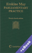 Cover of Erskine May Parliamentary Practice (Book & eBook Pack)