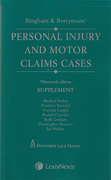 Cover of Bingham & Berryman's Personal Injury and Motor Claims Cases 13th ed: Supplement