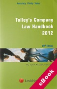 Cover of Tolley's Company Law Handbook 2012 20th ed (eBook)