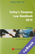 Cover of Tolley's Company Law Handbook 2012 20th ed (Book & eBook Pack)