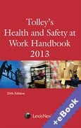 Cover of Tolley's Health and Safety at Work Handbook 2013 (Book & eBook Pack)