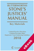 Cover of Butterworths Stone's Justices' Manual 2018 (eBook)