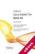 Cover of Tolley's Value Added Tax 2019-20: 2nd edition only (eBook)