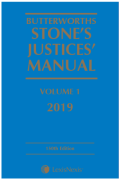 Cover of Butterworths Stone's Justices' Manual 2019
