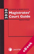 Cover of Anthony and Berryman's Magistrates Court Guide: 2020 (eBook)