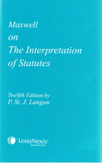 Cover of Maxwell on the Interpretation of Statutes