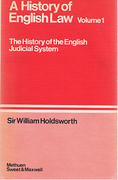 Cover of Sir William Searle Holdsworth: A History of English Law Volume 1: (Book I) The Judicial System