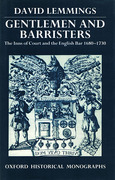Cover of Gentlemen and Barristers: The Inns of Court and the English Bar 1680 - 1730