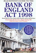 Cover of Blackstone's Guide to the Bank of England Act 1998