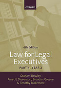 Cover of Law for Legal Executives: Part 1, Year 2:
