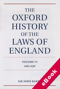 Cover of The Oxford History of the Laws of England Volume 6: 1483 - 1558 (eBook)