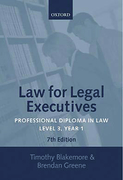 Cover of Law for Legal Executives: Professional Diploma in Law: Level 3, Year 1: