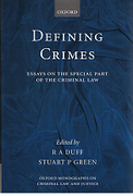 Cover of Defining Crimes: Essays on the Special Part of the Criminal Law