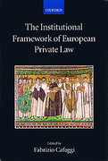 Cover of The Institutional Framework of European Private Law