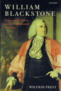 Cover of William Blackstone: Law and Letters in the Eighteenth Century