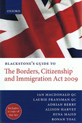Cover of Blackstone's Guide to the Borders, Citizenship and Immigration Act 2009