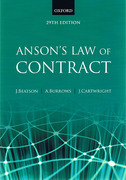 Cover of Anson's Law of Contract