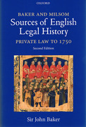 Cover of Baker and Milsom's Sources of English Legal History: Private Law to 1750
